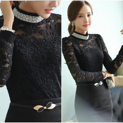 Black Turtle Neck Long Sleeve Lace ..