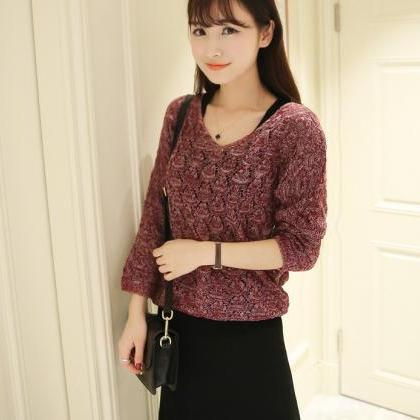 Red Knitting Sweater With Black Dre..