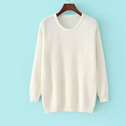 LOOSE ROUND NECK LONG-SLEEVED KNIT ..