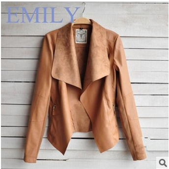 New Winter Women's Fashion Ultra-Thin PU Jacket Short Coat JM