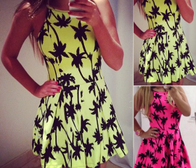 Sweet Sleeveless Print Dress