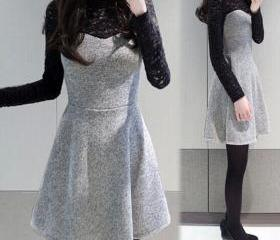 Fashion Stitching Lace Dress