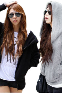 The bat-sleeved hoodie hoodie hoodie loose-fitting blazer