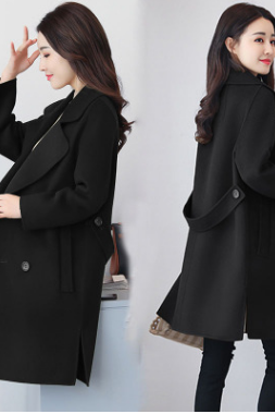 The 2018 new woollen outerwear women's autumn winter woollen double-breasted middle and long style overcoat is available to students