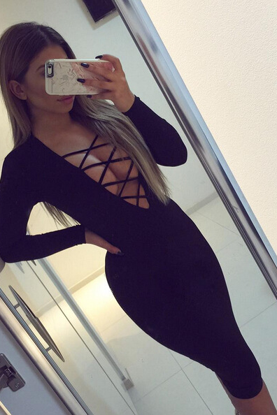 SEXY DEEP V CROSS LONG-SLEEVED DRESS