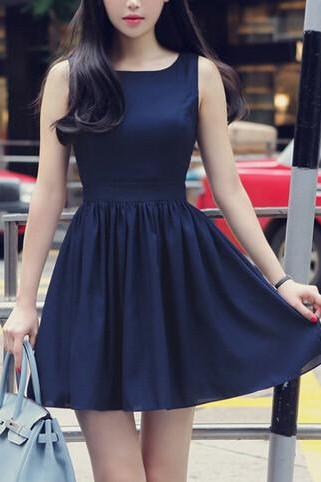 FASHION BOW VEST DRESS