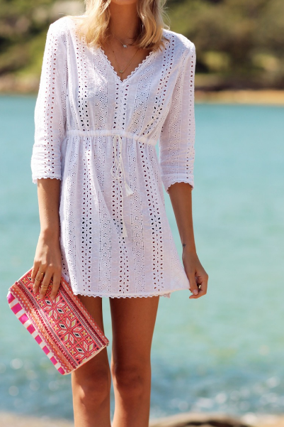 V-Neck Short White Dress with Eyelet Detail and 3/4 Sleeves