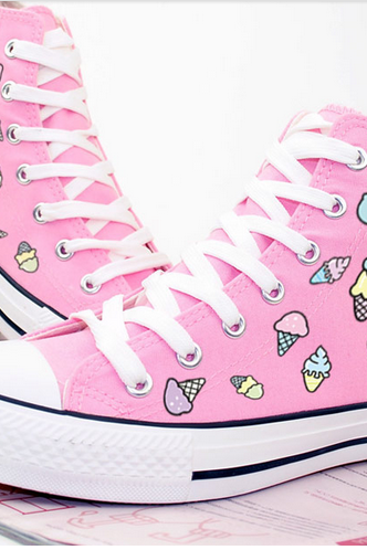 Pink Lace-Up Ankle High Sneakers with Cartoon Ice Cream Print