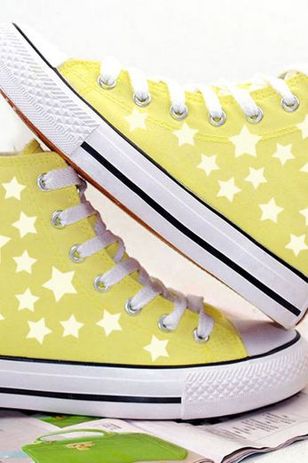 Ankle High Tops Sneakers with Glow In The Dark Star Designs