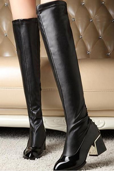 The New England Autumn Wind Knee High Boots With Solid Rivet Round Head Coarse Martin Boots Boots Boots Wholesale Knight