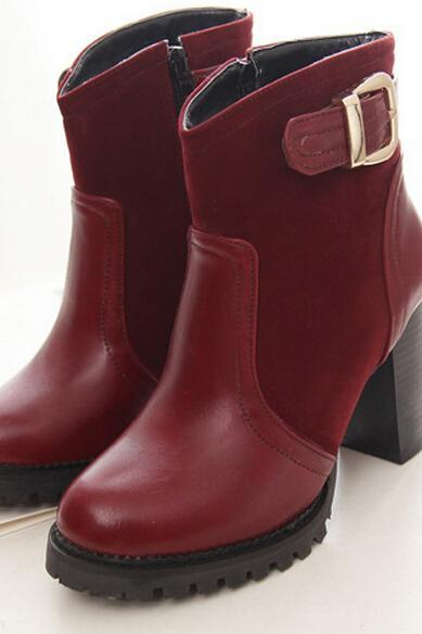 Winter 2015 New Fashion Boots Round Metal Decorative Shoes With Color High-Heeled Ma Dingxue Crude