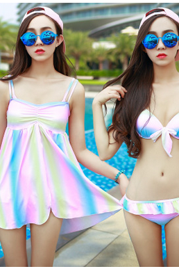 Fashion new swimsuit Cultivate one's morality show thin steel bracket bikini a three-piece suit MQ