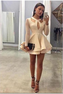 Pure Color Long Sleeve Cake Skirt Ladies Dress Dress MS