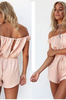 Summer dress pink word gets behind hollow-out lace-up jumpsuits TY
