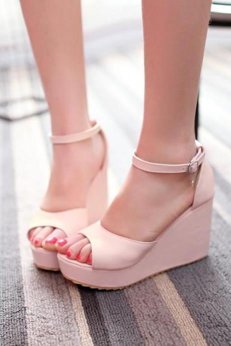 Simple Peep-Toe Wedge Sandals with Slender Ankle Straps Adorned with Metallic Star Charm