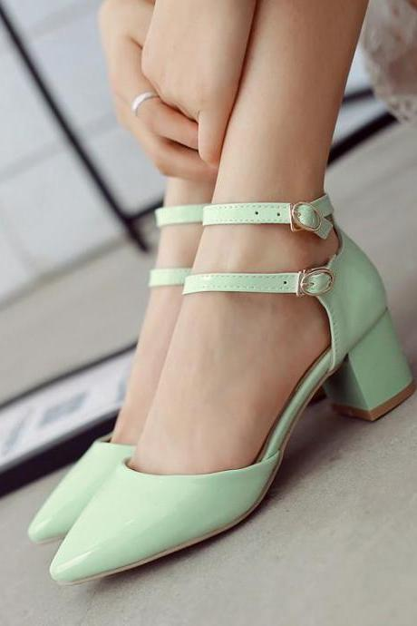 Pointed-Toe Dual ankle Strap Low Chunky Heels