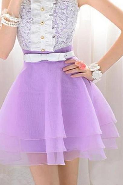 Petals Purple Stitching Lace Sleeveless Dress