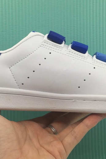 White Trainers With Blue Velcro Straps Closure