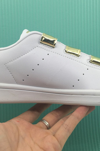 White Faux Leather Sneakers Featuring Gold Metallic Velcro Straps