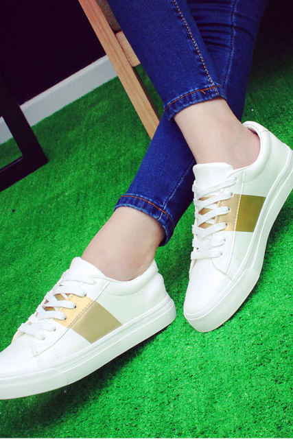 Single white shoe lace-up shoes flat sandals students shoes