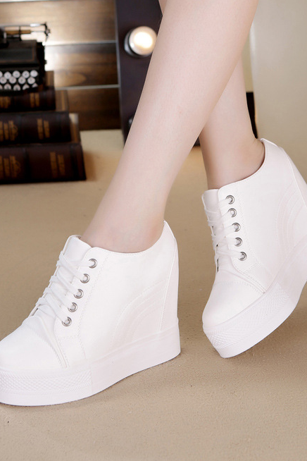 High Platform Sneakers with Thick Rubber Sole