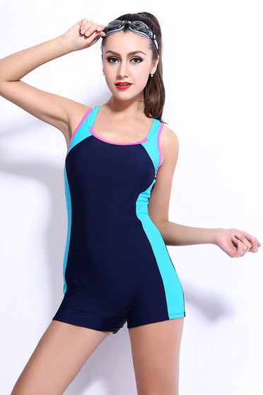 Ms conjoined boxer swim swimsuit splicing thin swimsuit