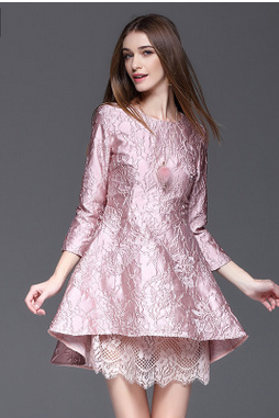 The new spring/summer 2017 women cultivate one's morality is irregular posed lace embroidery dress