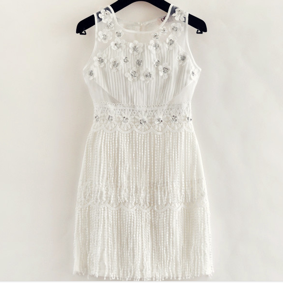 Lace Sequins Dress Beaded Tassels