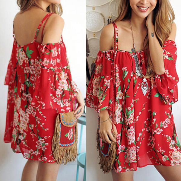 Summer Women Sexy Batwing Sleeve Floral Chiffon Beach Evening Party Short Dress