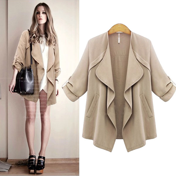 Lapel Wavy Collar Solid Rolled Sleeves Casual Coat