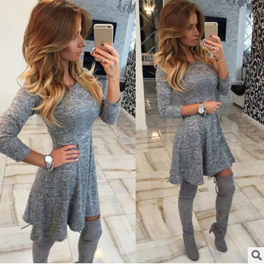 The new round neck long sleeve waist dress ZBY