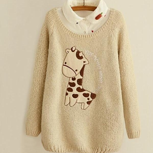 chrismas Cute Giraffe Embroidery Applique Sweater