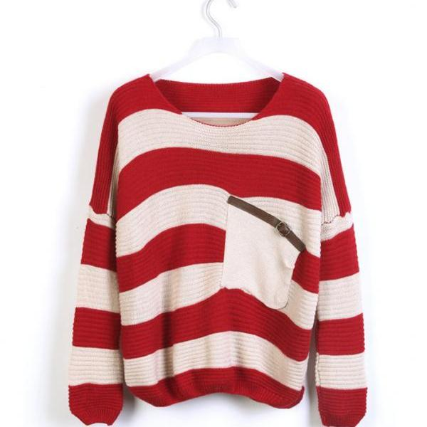 Red Striped Bat Long Sleeve Sweater